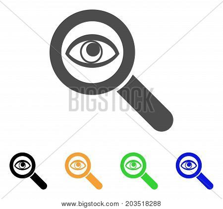 Eye Explore icon. Vector illustration style is a flat iconic eye explore symbol with black, gray, green, blue, yellow color versions. Designed for web and software interfaces.