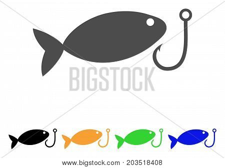 Fish Hook icon. Vector illustration style is a flat iconic fish hook symbol with black, grey, green, blue, yellow color versions. Designed for web and software interfaces.