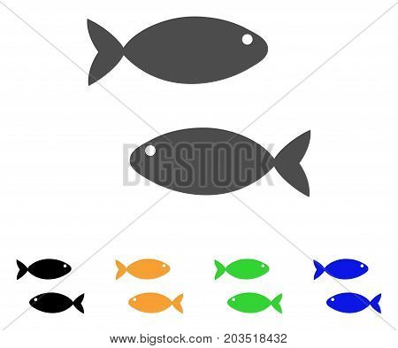 Fish Pair icon. Vector illustration style is a flat iconic fish pair symbol with black, grey, green, blue, yellow color versions. Designed for web and software interfaces.