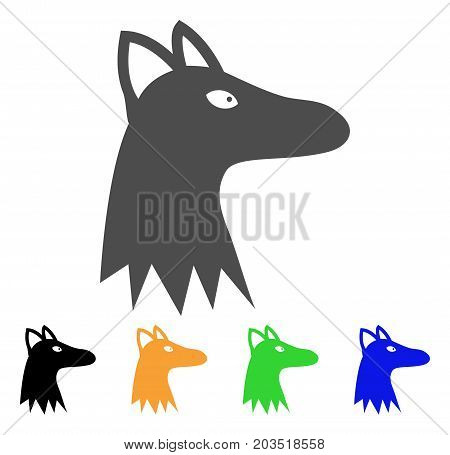 Fox Head icon. Vector illustration style is a flat iconic fox head symbol with black, grey, green, blue, yellow color versions. Designed for web and software interfaces.