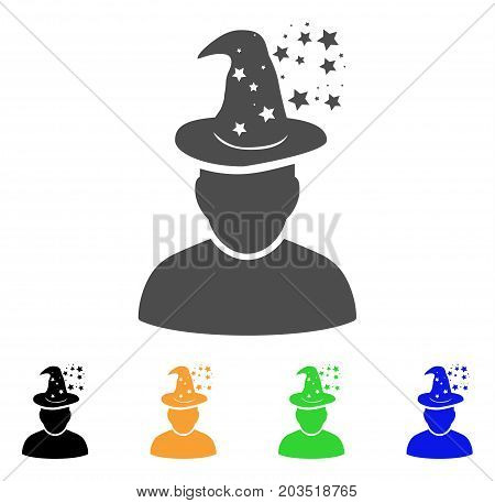 Magic Person icon. Vector illustration style is a flat iconic magic person symbol with black, grey, green, blue, yellow color versions. Designed for web and software interfaces.