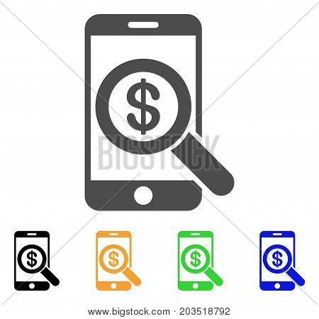 Mobile Audit icon. Vector illustration style is a flat iconic mobile audit symbol with black, gray, green, blue, yellow color versions. Designed for web and software interfaces.