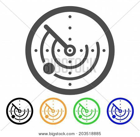 Radar icon. Vector illustration style is a flat iconic radar symbol with black, gray, green, blue, yellow color versions. Designed for web and software interfaces.