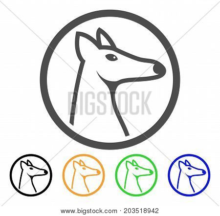 Rounded Fox Head icon. Vector illustration style is a flat iconic rounded fox head symbol with black, gray, green, blue, yellow color versions. Designed for web and software interfaces.