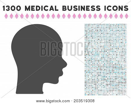 Boy Head gray vector icon with 1300 medical commercial pictograms. Clipart style is flat bicolor light blue and gray pictograms.