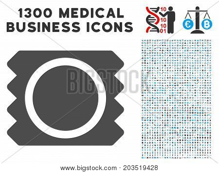 Condom Package gray vector icon with 1300 healthcare commerce icons. Collection style is flat bicolor light blue and gray pictograms.