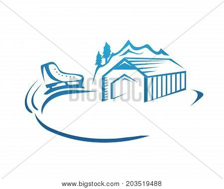 skating rink logo, skating rink with outline of hut and skate and moutian, illustration design, isolated on white background