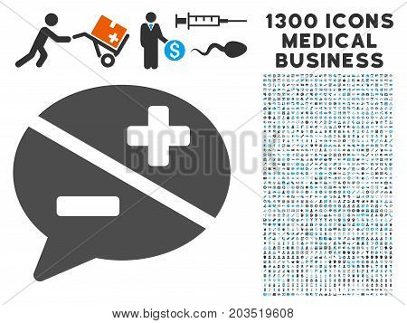 Dispute gray vector icon with 1300 clinic business pictographs. Collection style is flat bicolor light blue and gray pictograms.