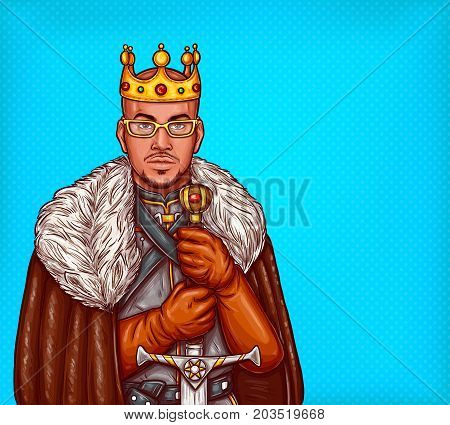 Medieval northern king pop art vector illustration. African american man in gold crown and glasses wearing leather coat with fur and steel armor standing with two-handed sword. Costume party overlord
