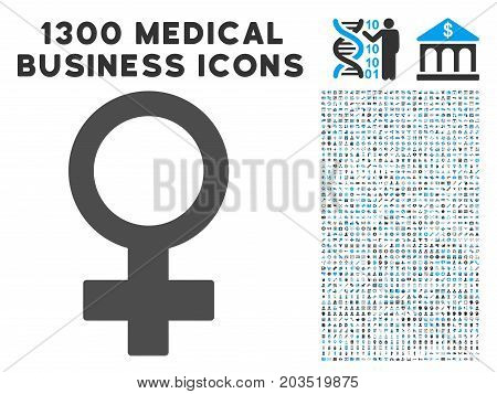 Female Symbol grey vector icon with 1300 medicine commercial icons. Clipart style is flat bicolor light blue and gray pictograms.