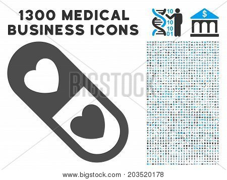 Love Pill grey vector icon with 1300 medicine commercial pictographs. Set style is flat bicolor light blue and gray pictograms.