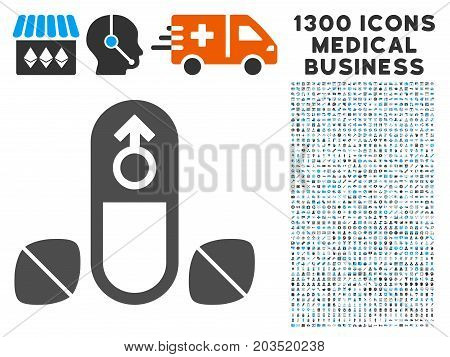 Male Enhancement Pills gray vector icon with 1300 medical business icons. Set style is flat bicolor light blue and gray pictograms.
