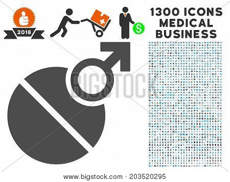 Male Erection Tablet gray vector icon with 1300 healthcare commerce pictographs. Set style is flat bicolor light blue and gray pictograms.
