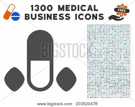 Male Power Pills gray vector icon with 1300 health care commerce icons. Clipart style is flat bicolor light blue and gray pictograms.