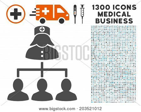 Patients Nurse Hierarchy gray vector icon with 1300 doctor commercial pictograms. Collection style is flat bicolor light blue and gray pictograms.