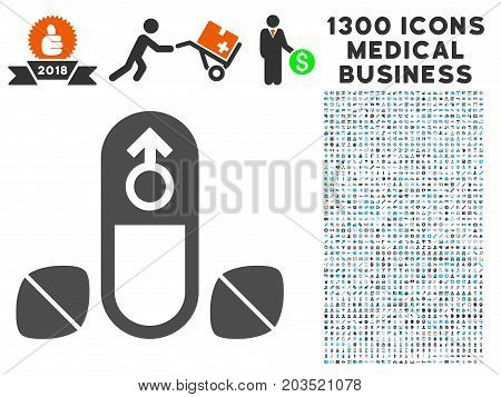 Penis Potency Tablets grey vector icon with 1300 doctor commercial icons. Set style is flat bicolor light blue and gray pictograms.
