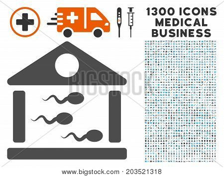 Sperm Bank gray vector icon with 1300 health care commercial pictographs. Clipart style is flat bicolor light blue and gray pictograms.