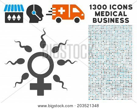 Sperm Fertilization grey vector icon with 1300 doctor business icons. Set style is flat bicolor light blue and gray pictograms.