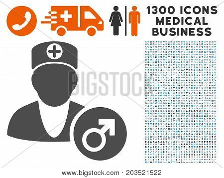 Urology Doctor grey vector icon with 1300 medical business icons. Set style is flat bicolor light blue and gray pictograms.