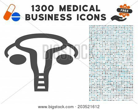 Vagine grey vector icon with 1300 medical business pictograms. Set style is flat bicolor light blue and gray pictograms.