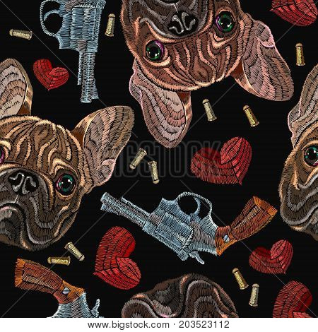 Embroidery bulldog hearts and guns seamless pattern. Wild west embroidery old revolvers red hearts and french bulldog dog gangster fashion background. Design of clothes t-shirt design