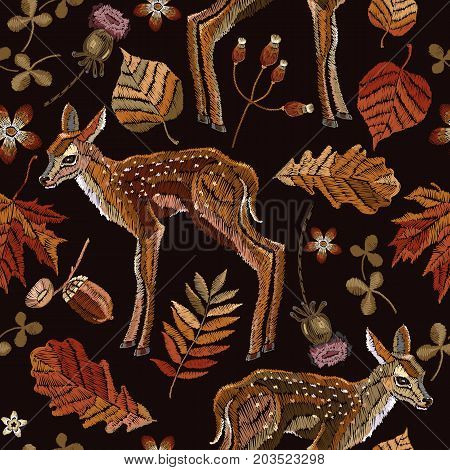 Embroidery deer autumn seamless pattern. Classical september embroidery autumn leaves fawn deer oak and maple leaves. Fashionable template for design of clothes t-shirt design