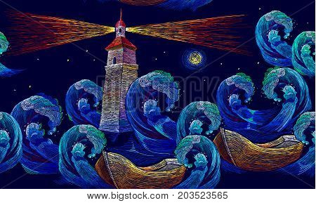 Embroidery lighthouse boat sea waves seamless pattern. Template for clothes textiles t-shirt design. Classical embroidery impressionism style lighthouse and storm in ocean seamless background