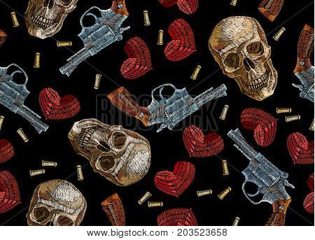 Embroidery skulls hearts and guns seamless pattern. Wild west embroidery old revolvers red hearts and human skulls gangster gothic fashion background. Design of clothes t-shirt design