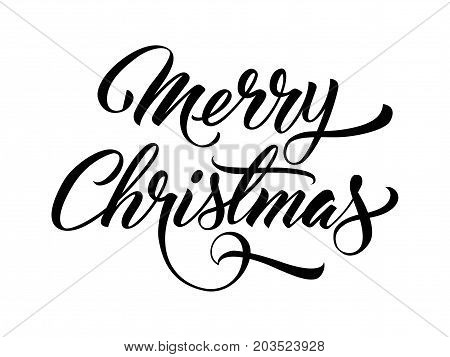 Merry Christmas handwritten text. Creative lettering in black color. Handwritten text, calligraphy. Can be used for greeting cards, posters, leaflets