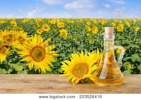 sunflower oil in glass bottle and fresh sunflowers on wooden table with natural background. Blooming sunflower field with blue sky. Agriculture and harvest concept