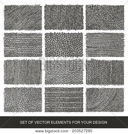 Collection of textures brushes graphics design element. Hand-drawn. Abstract background. Modernistic Art.