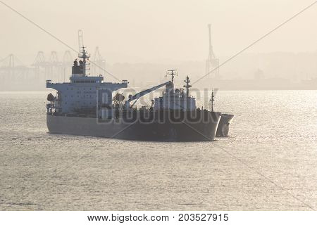 BARCELONA, SPAIN - APRIL 1, 2017: Ice Fighter - Crude Oil Tanker, in Gibraltar Harbour