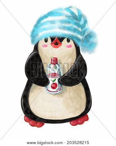 Winter illustration with funny cartoon penguin in a warm cap and with a bottle of juice isolated on white background.