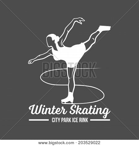 Ice skating, speed scating, figure skating logo, emblem and design elements. Retro design of monochrome badge. Winter sports collection