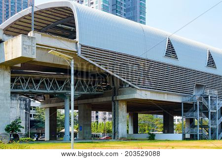 Building of the Sky train station in Bangkok. View from the outside.