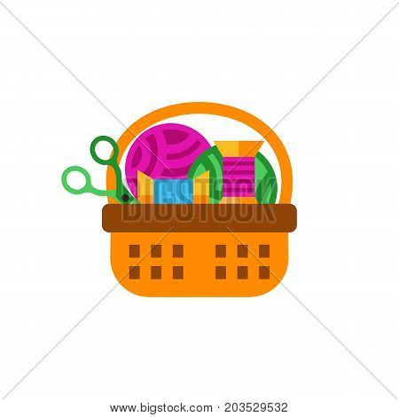Vector icon of basket with yarn, spools and scissors. Handmade tools, needlework, handicraft. Handmade concept. Can be used for topics like hobby, leisure, creativity
