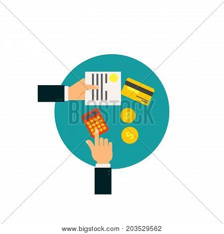 Vector icon of hands of businessman counting on calculator, document and money. Tax count, expenses, counting profit. Taxation concept. Can be used for topics like business, banking, finance