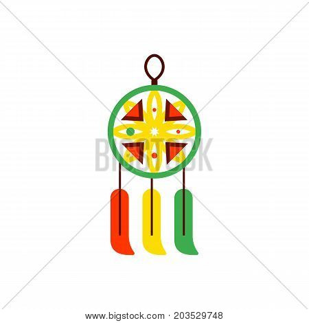 Vector icon of dream catcher. Indian amulet, dream, protection. Sleeping concept. Can be used for topics like paganism, Indian culture, ethnic culture