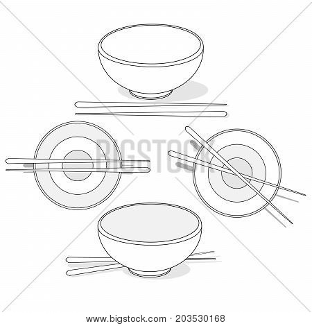 Japanese Cuisine Illustration of Rice Donburi/Bowl/Cup Isolated set.