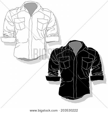 Male shirt illustration. Clothes collection set .