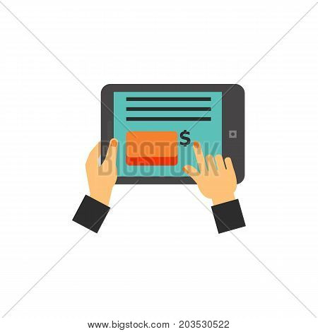 Vector icon of hands holding digital tablet with online invoice. Online payment, online shopping, e-banking. Taxation concept. Can be used for topics like business, banking, finance