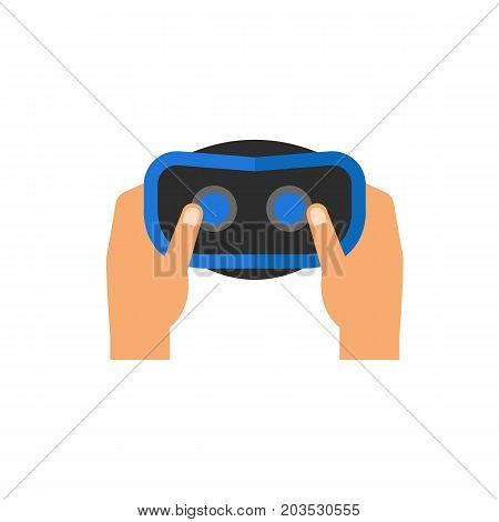 Vector icon of hands holding virtual reality headset. Virtual reality equipment, night goggles, gaming. Virtual reality concept. Can be used for topics like technology, innovation, leisure