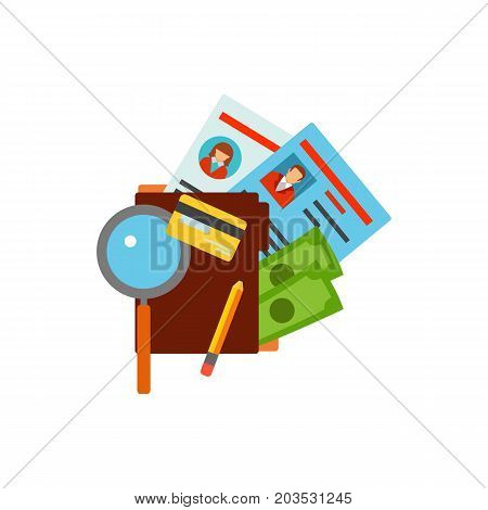 Icon of magnifying glass and folder with money, credit card and records. Offshore company, visa processing, money laundering. Taxation concept. Can be used for topics like business, banking, finance