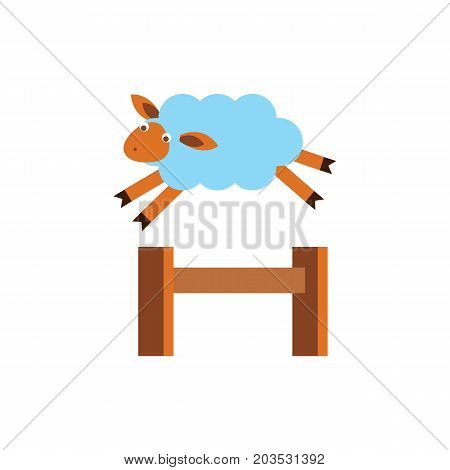 Vector icon of sheep jumping over fence. Counting ships, insomnia, dream. Sleeping concept. Can be used for topics like bedtime, farm animals, agriculture