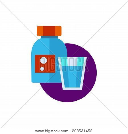 Vector icon of bottle with sleeping pills and glass. Sleeping aid, medication, insomnia. Sleeping concept. Can be used for topics like medicine, health, pharmacy