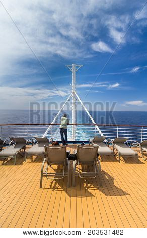 ALBORAN SEA - MARCH 31, 2017: Upper Deck on the cruise ship P&O Oceana at sea