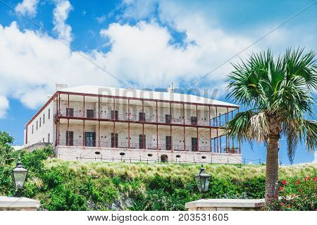The old commissioner's house on a hill near the Bermuda Naval Dockyard