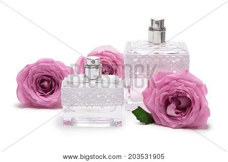 Two perfume bottles with roses on white background