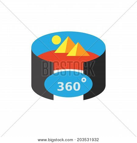 Vector icon of panoramic view. Panoramic cinema, 3d image, virtual reality modeling. Virtual reality concept. Can be used for topics like technology, innovation, cyberspace