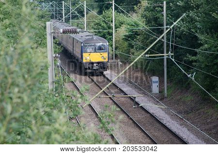 Alresford Essex United Kingdom -12 August 2017: UK train Carriage Electric Unit on Track
